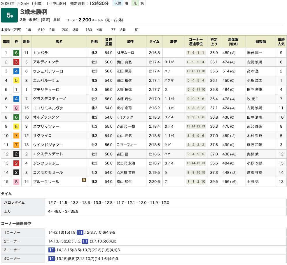 カンバラ(オルフェーヴル産駒)が3コーナーひとまくりで初勝利
