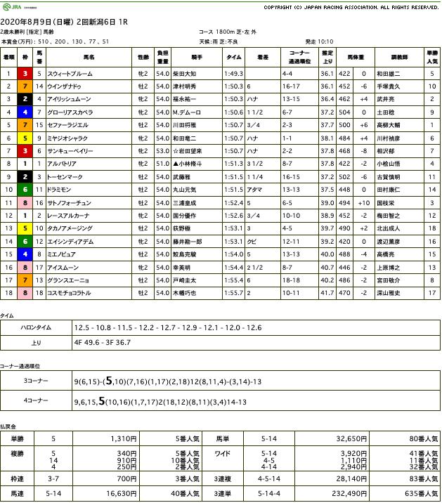 スウィートブルーム(ゴールドシップ産駒)が不良馬場を物ともせずにぶっちぎって初勝利