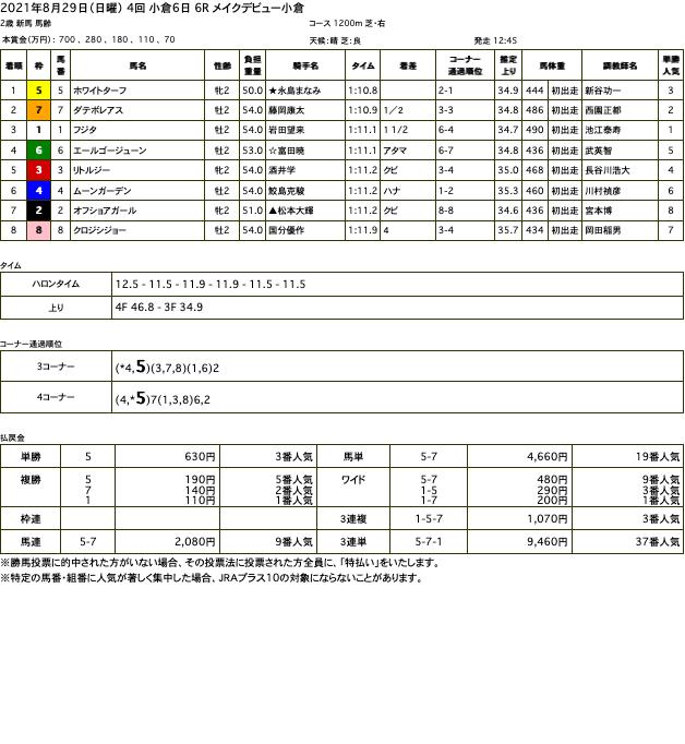 ホワイトターフ(ゴールドシップ産駒)が軽快に走り抜け新馬勝ち